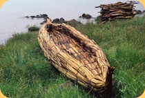 Papyrus reed boat or &quot;tankwa&quot;, Lake Tana, Ethiopia, Africa