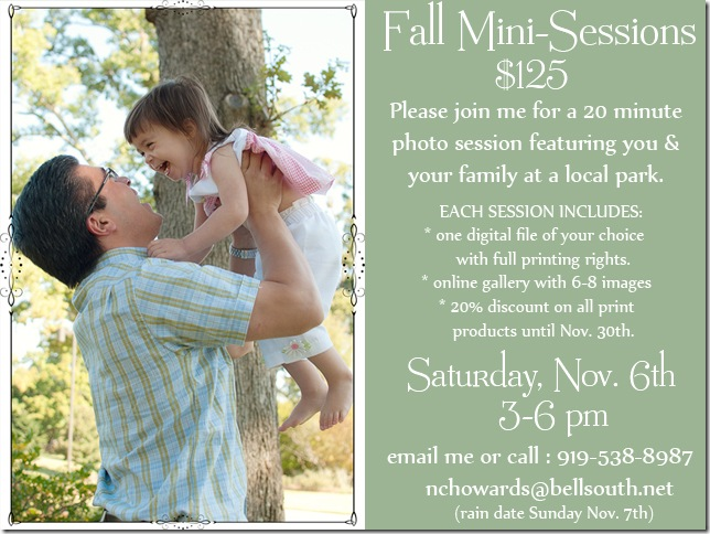 KHP fall mini session flier