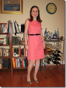 Salmon Shift Dress with Black Accents