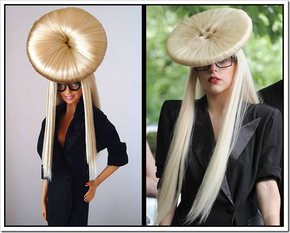 hair-covered hat in the shape of a button in Manchester, UK on Jun. 29, 2009