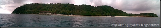 A panorama view of the island from the boat