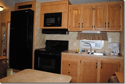 Kitchen in New Super King Rental RV Lake Rudolph Campground
