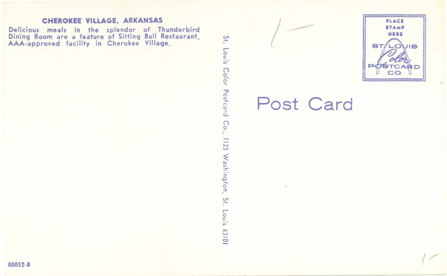 Cherokee Village Arkansas Penny Postcards! Cherokee%20Village%20Sitting%20Bull%20Restaurant%20%28Back%29