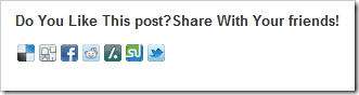 Add social Icons like Digg,Reddit  Button Below Post: