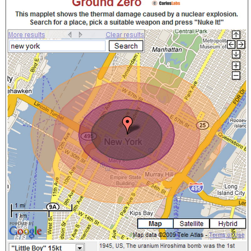 Ground Zero – Visualization of a nuclear catastrophe on Google Maps