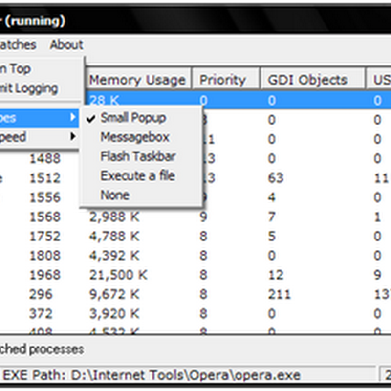 Usage Monitor notifies you when resource usage by processes exceed