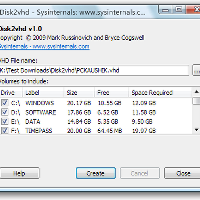 Disk2vhd converts physical disk into virtual disk for use in virtual machines