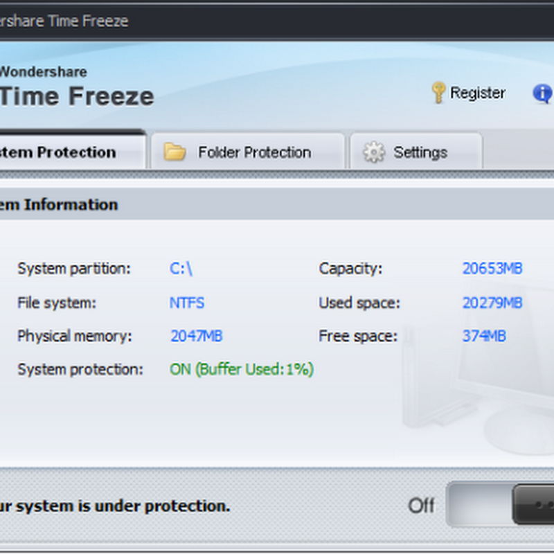 Wondershare Time Freeze Free protects your system from changes