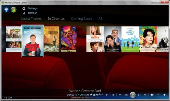 get the latest movie trailers in windows 7 media center