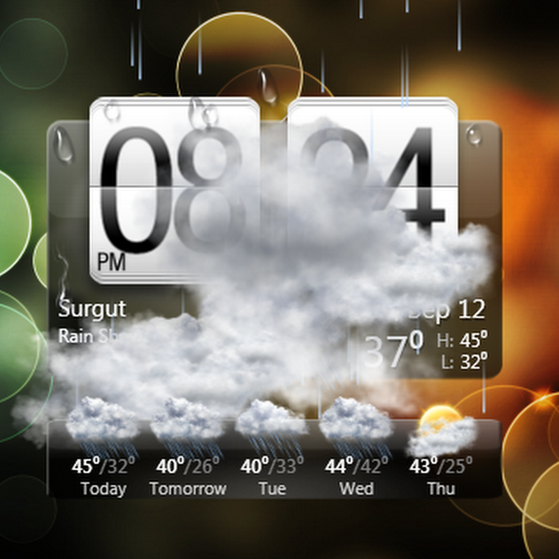 HTC styled clock and weather gadget for Windows desktop