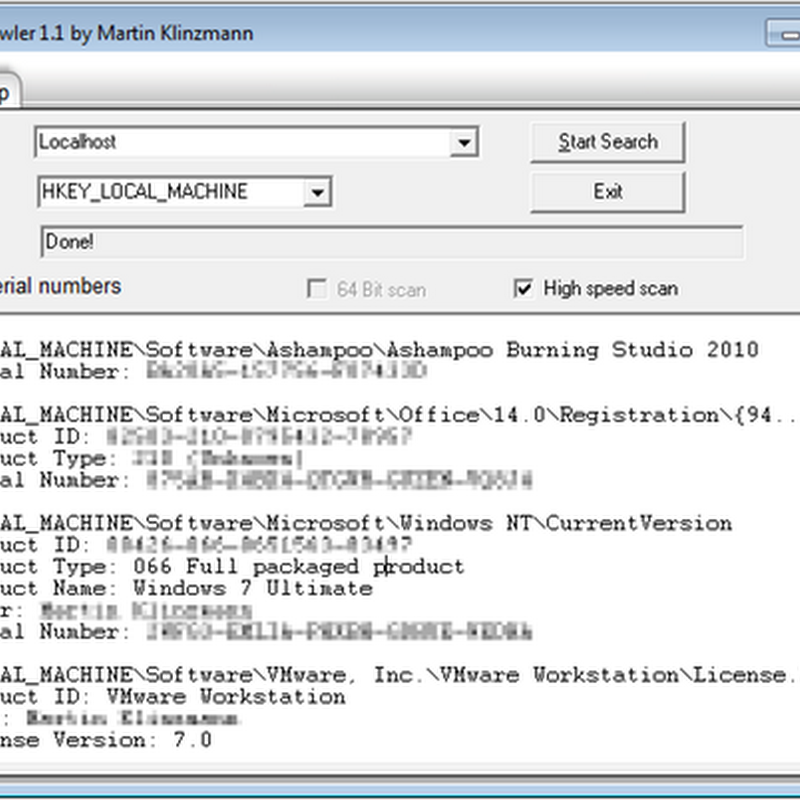 LicenseCrawler retrieves lost software license keys from the Registry