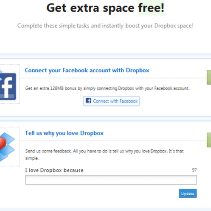 Get 512MB extra Dropbox space by connecting to social accounts