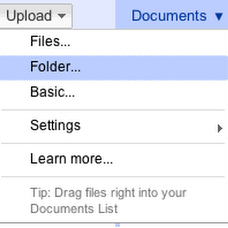 Now Upload Entire Folders to Google Docs