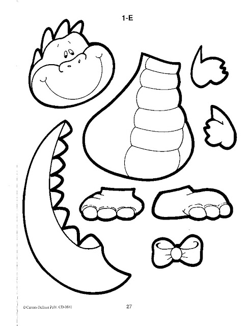 DINOSAUR CUT OUT COLORING PAGE
