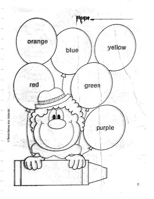 fichas para pintar y aprender los colores en ingles