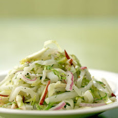 Green-Cabbage and Red-Apple Slaw with Brussels Sprouts