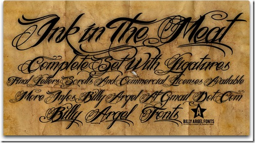 BILLY ARGEL INK IN THE MEAT FONT