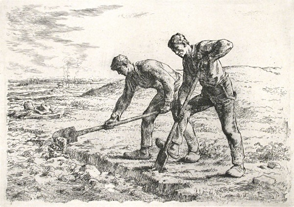 Jean-Francois Millet (French, 1814-1875). Les Becheurs (The Diggers)