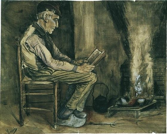 Farmer Sitting at the Fireside