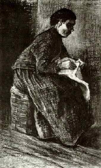 Woman Sitting on a Basket, Sewing