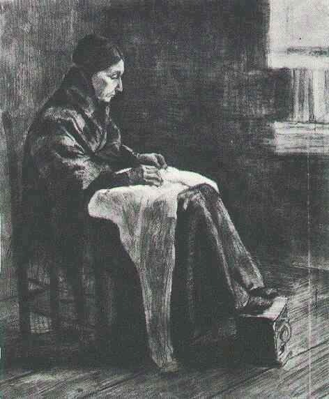 Woman with Shawl, Sewing