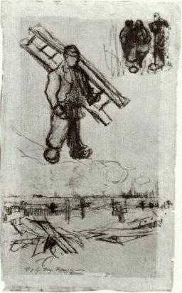 Sketches of a Man with a Ladder, Other Figures, and a Cemetery