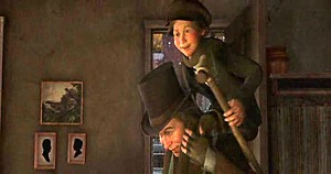A Christmas Carol (2009) - Cratchit carrying Tiny Tim