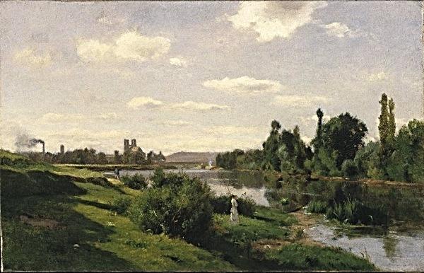 The River Seine at Mantes - Charles François Daubigny
