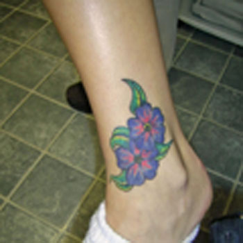 Label Flower Ankle Tattoos