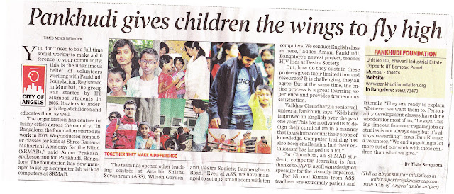 Article on Pankhudi Foundation in Times of India Bangalore