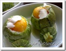 Zucchine ripiene robiola prosciutto e uova 4