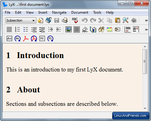 LyX LaTeX Editor