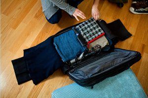 Packing a suitcase for a short trip
