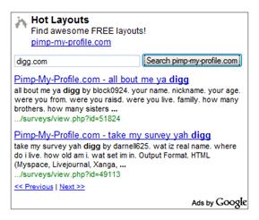 searching digg.com inside adsense ad