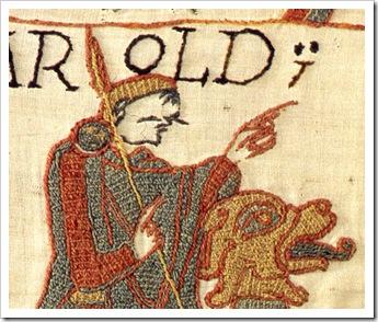 O rei Harold, fillo de Godwin, no tapiz de Bayeux.