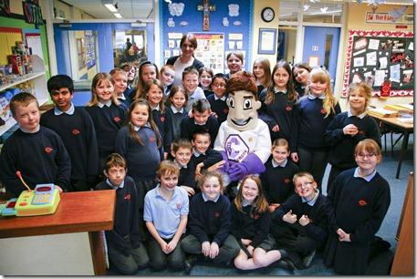 Census man visiting St. Mary's RC Primary School, Crewe - Year 5 and 6 pupils