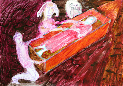 frank waaldijk, entombment 9 (inspired by a rembrandt drawing)