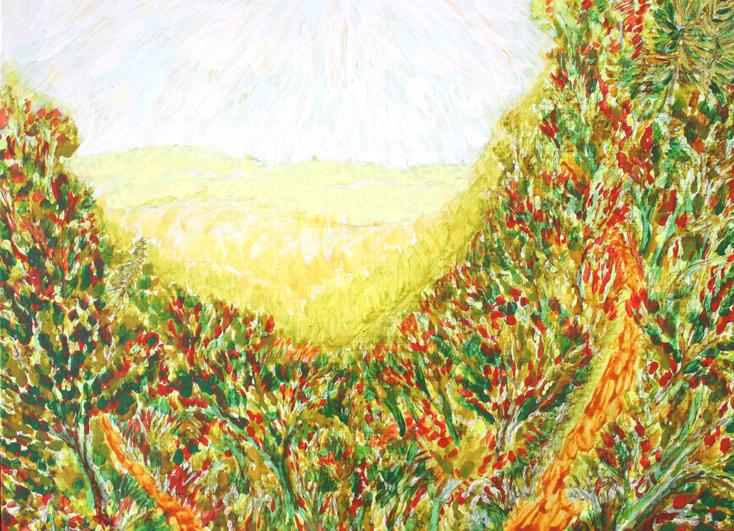 bomen, heuvels (schilderij van frank waaldijk)