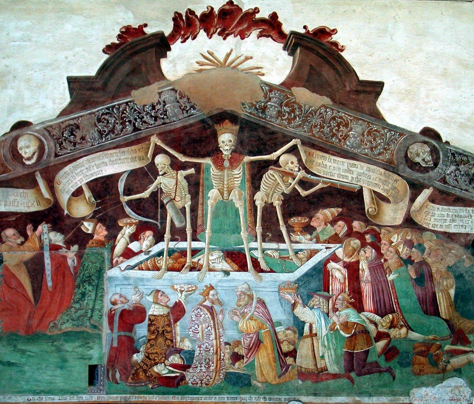 giacomo borlone de buschis, triomf van de dood (detail van fresco in clusone))
