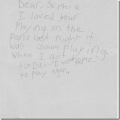 Sophie piano letter