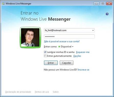 Windows Live Messenger 2011 - Lembrar minhas ID e senha