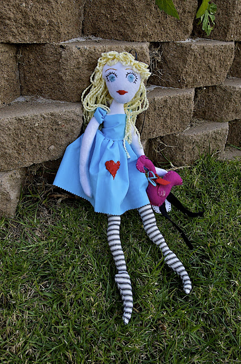 Alice Plays Croquet by Cimmerii Mills - a one-of-a-kind soft doll.