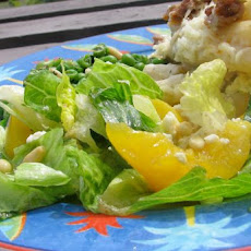 Mixed Green Salad With Fresh Peaches, Basil and Chevre