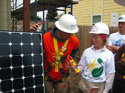 Testing the voltage of a SunPower solar panel