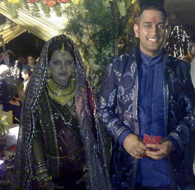 Captain cool Dhoni with Sakshi during their wedding ceremony