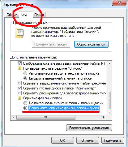 вид - показать скрытые файлы и папки