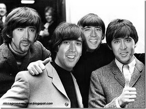 Nicolas é Jhn Lenon, ringo, paul e george beatles
