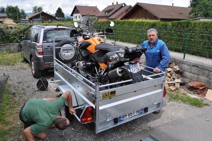 Remorque porte moto avec sabot - Porte moto 1 rail erde pm 310 ...