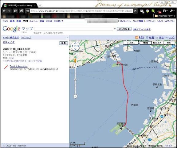 Googleマップへの掲載 - トラックログを表示