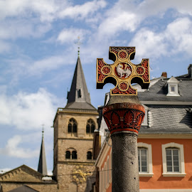 The Cross by Onur Genes - Buildings & Architecture Architectural Detail ( street, germany, trier, cross )
